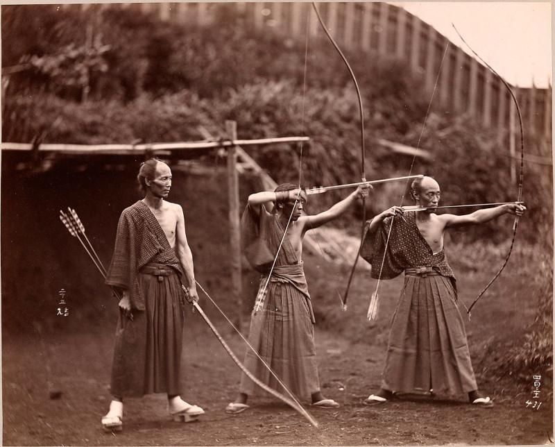 японские лучники, историческое фото